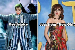 """Taylor Swift dressed as Beetlejuice and Jess from """"New Girl"""""""