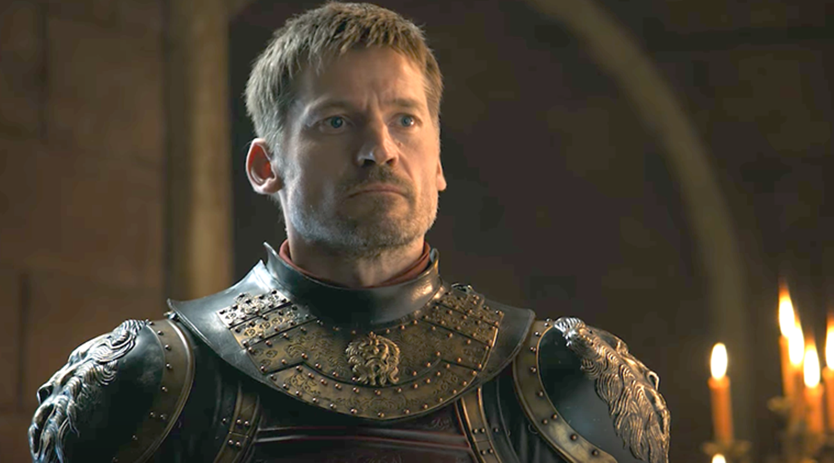A closeup of Jaime dressed in his Lannister armour