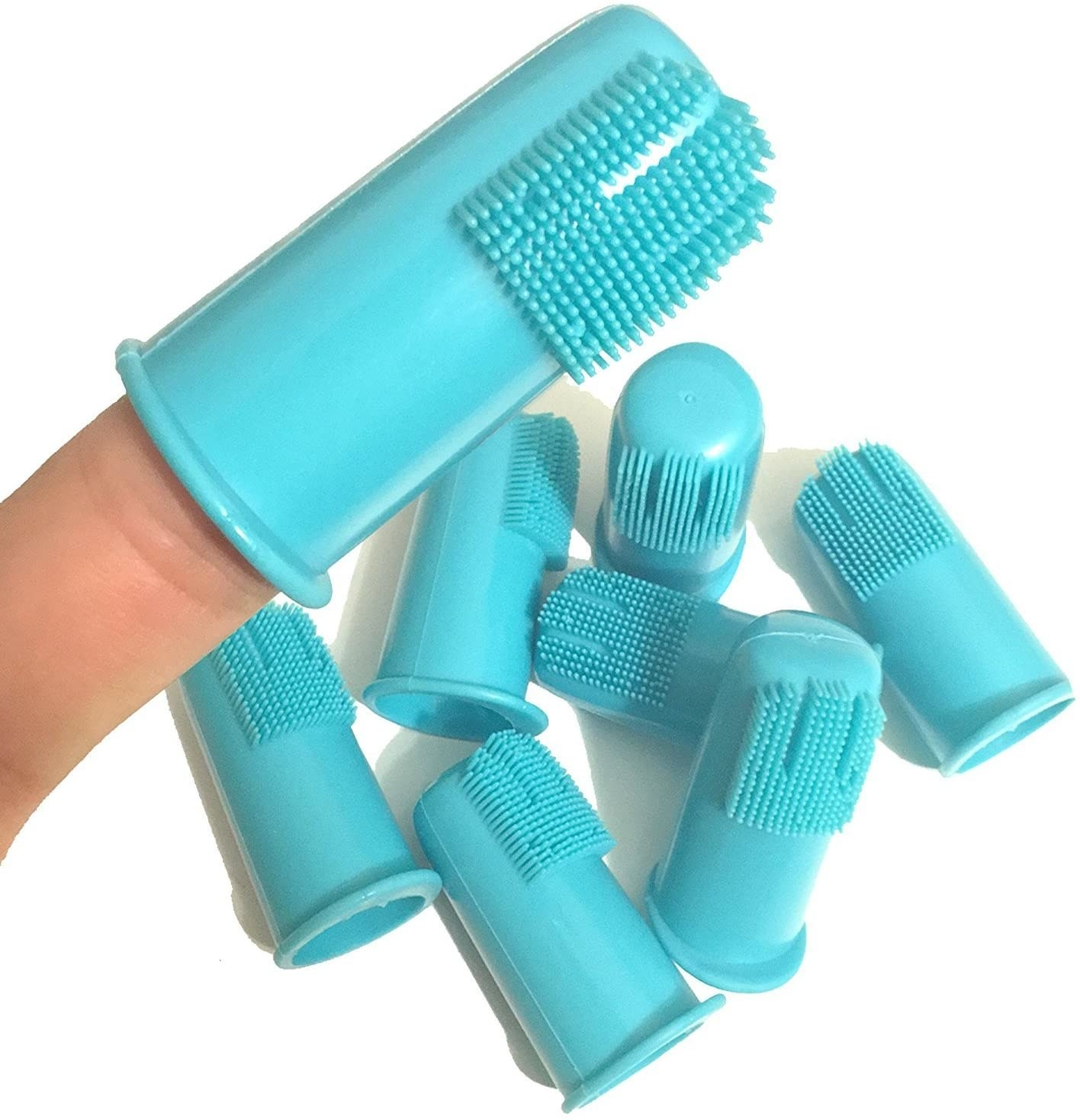 8 blue silicone toothbrush finger caps.