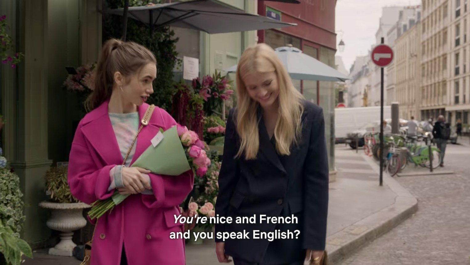 "Emily telling her new French friend, ""You're nice and French and you speak English?"""