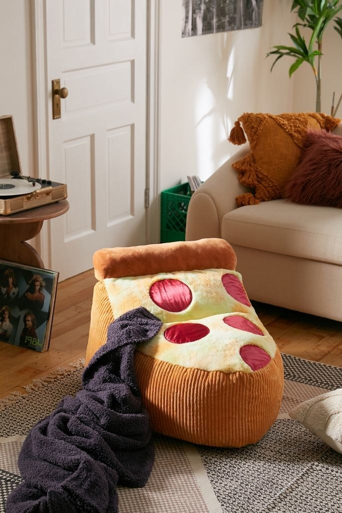 A pizza-shaped bean bag chair