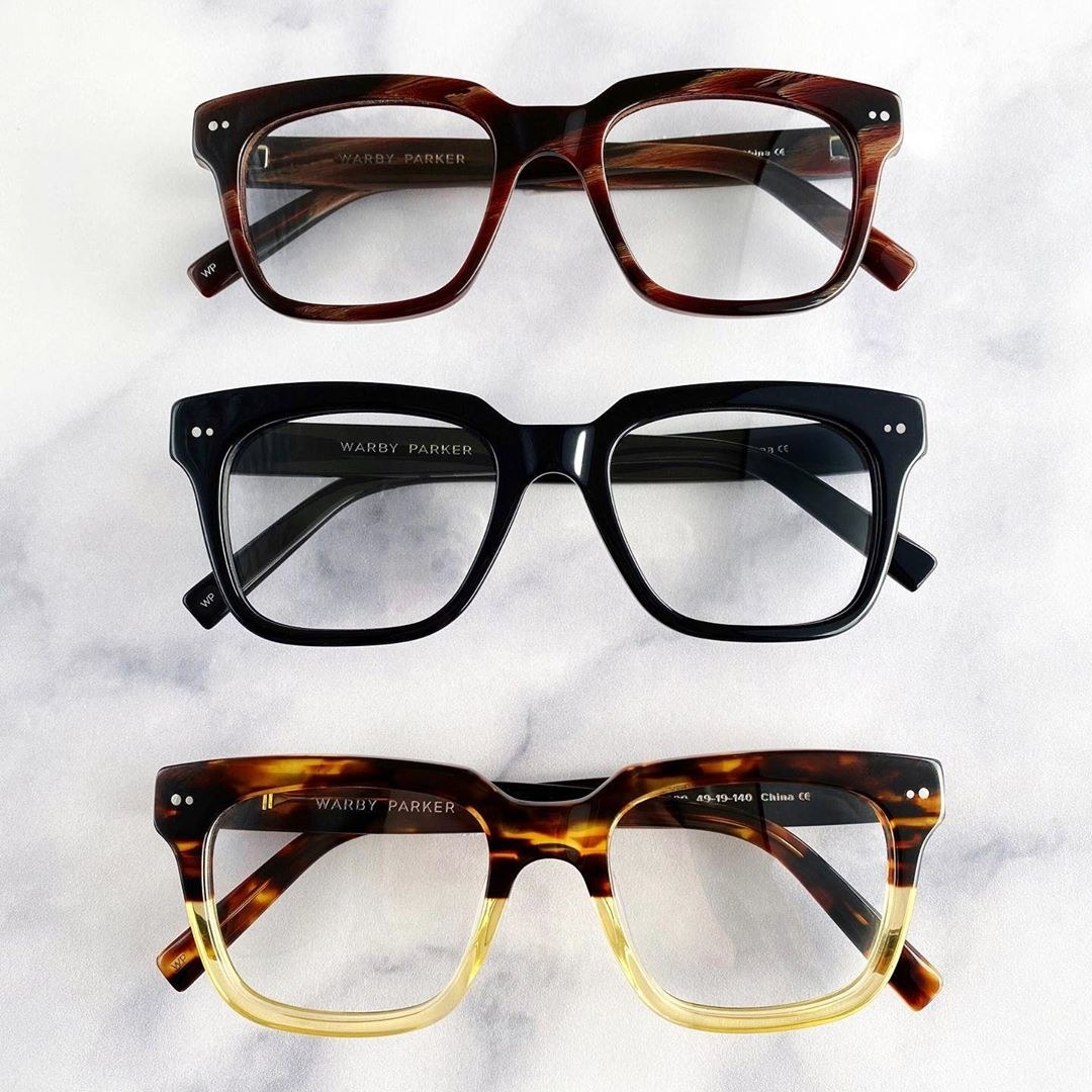 the glasses in brown, black, and light brown