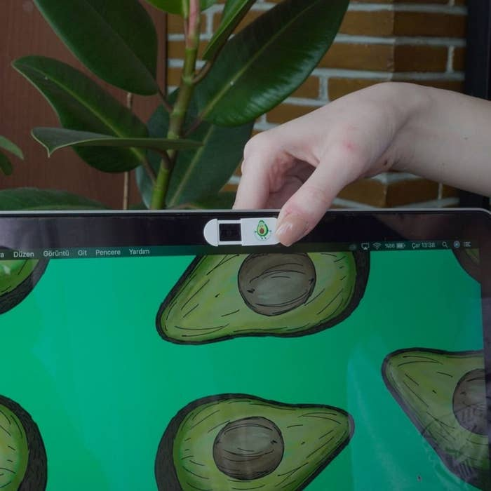 The avocado webcam cover on a computer