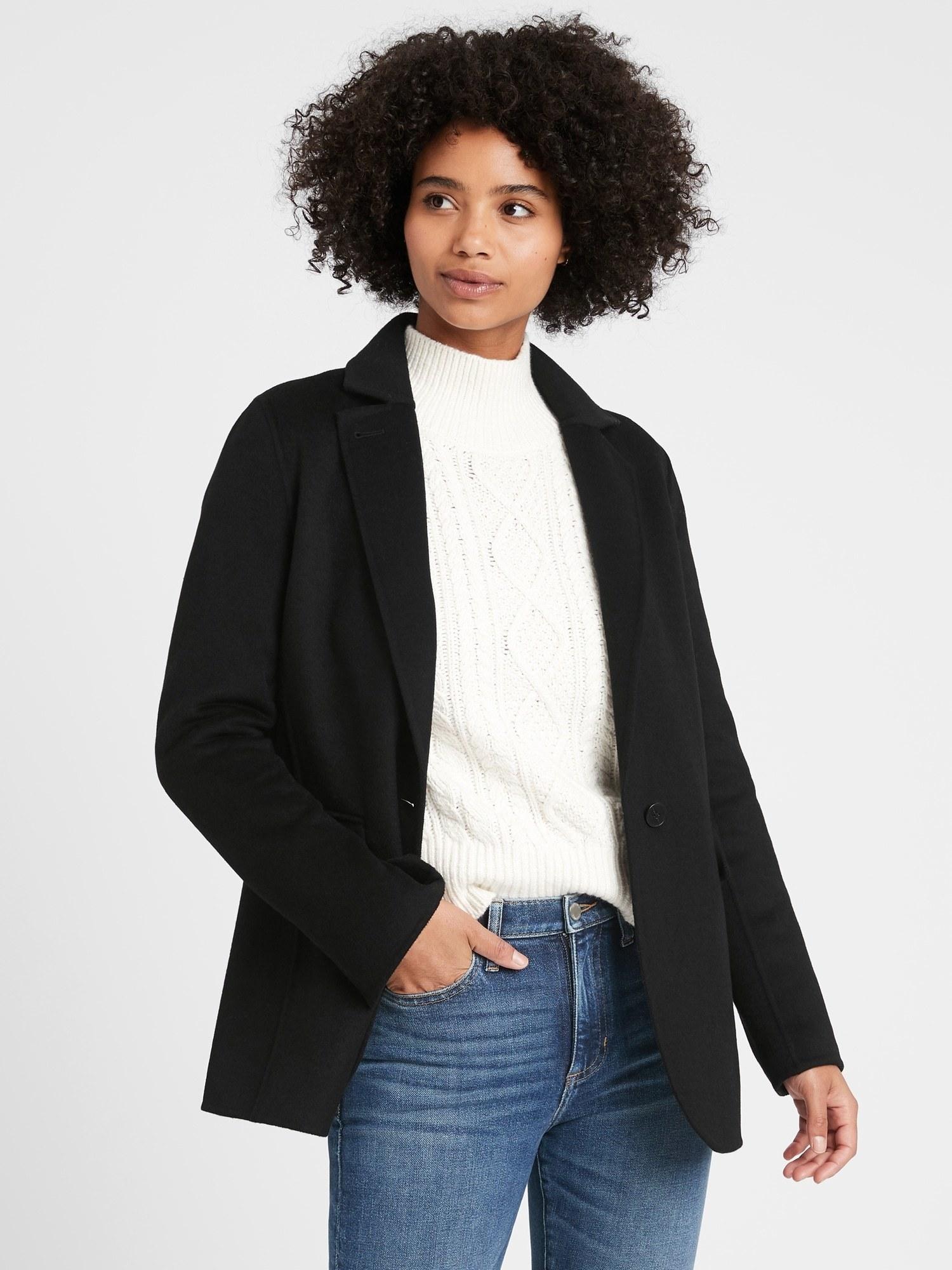 Model wearing the jacket in black
