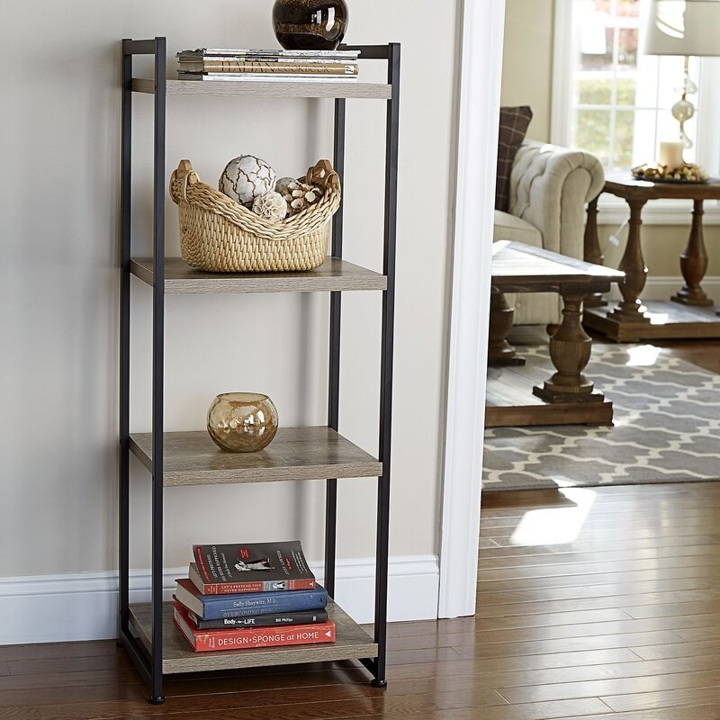 The bookcase with a black frame