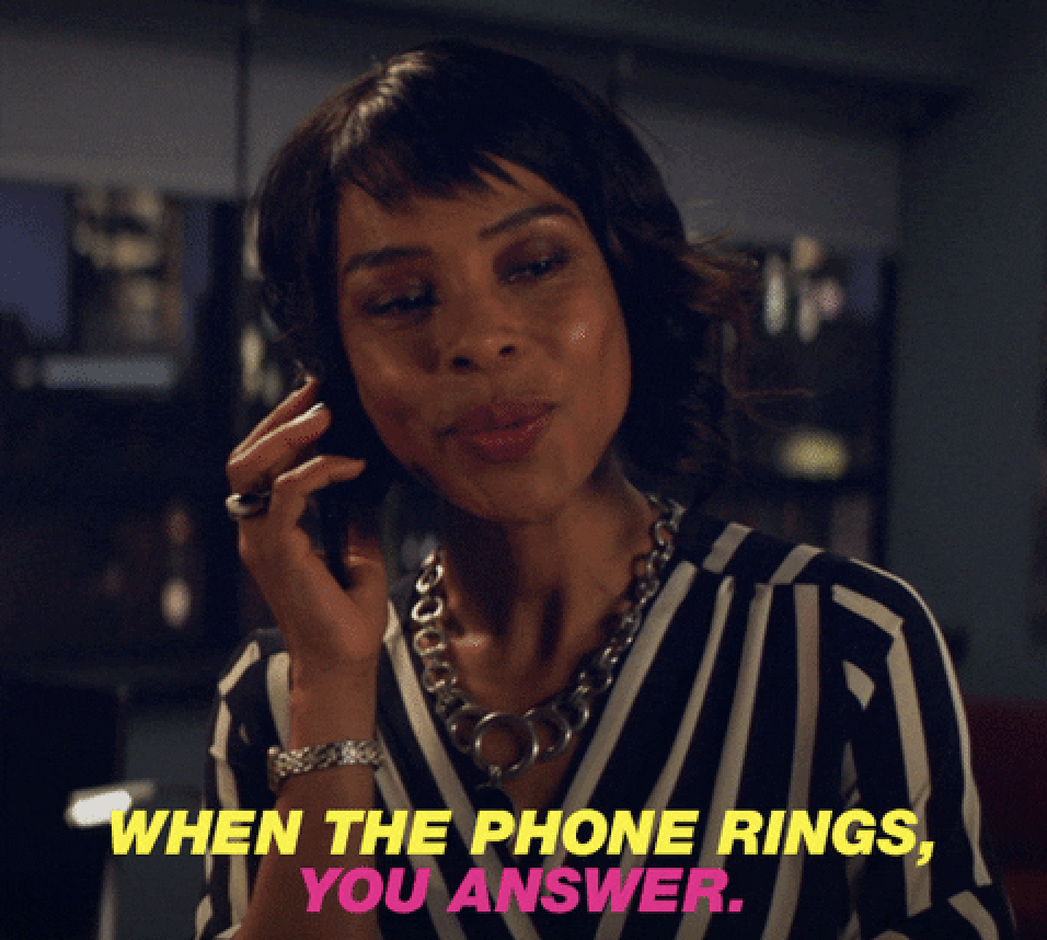 """Sophie Okonedo  saying """"When the phone rings, you answer."""""""