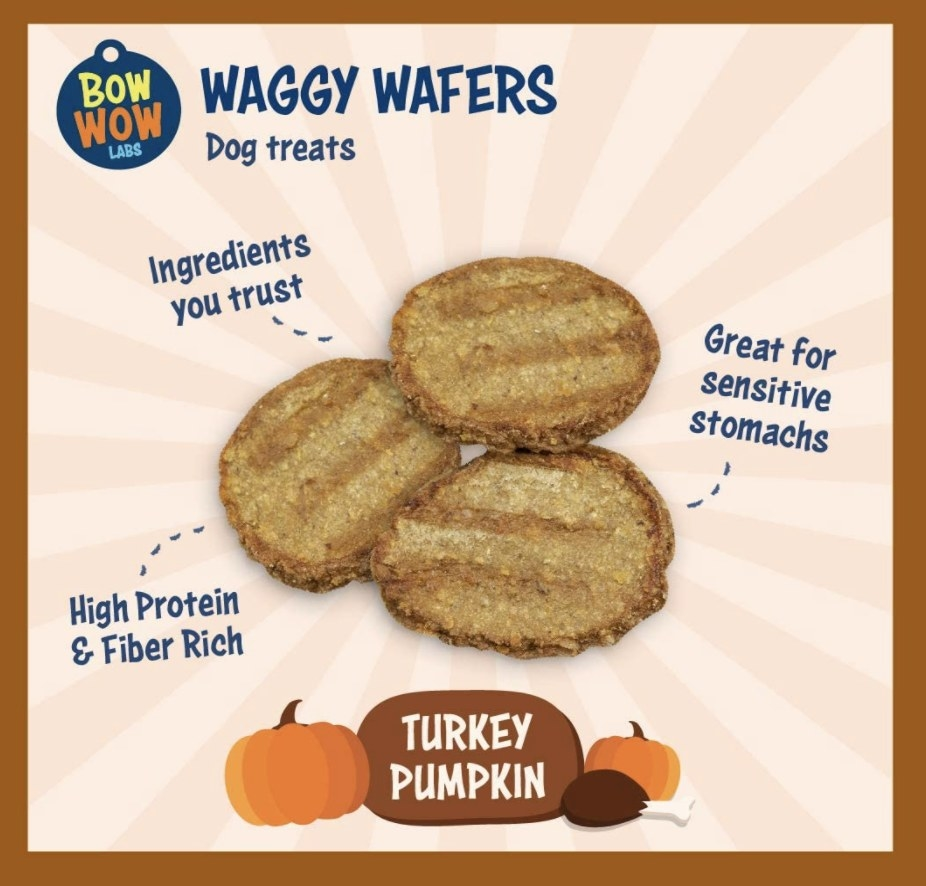 Bow wow waggy wafers in turkey pumpkin flavor