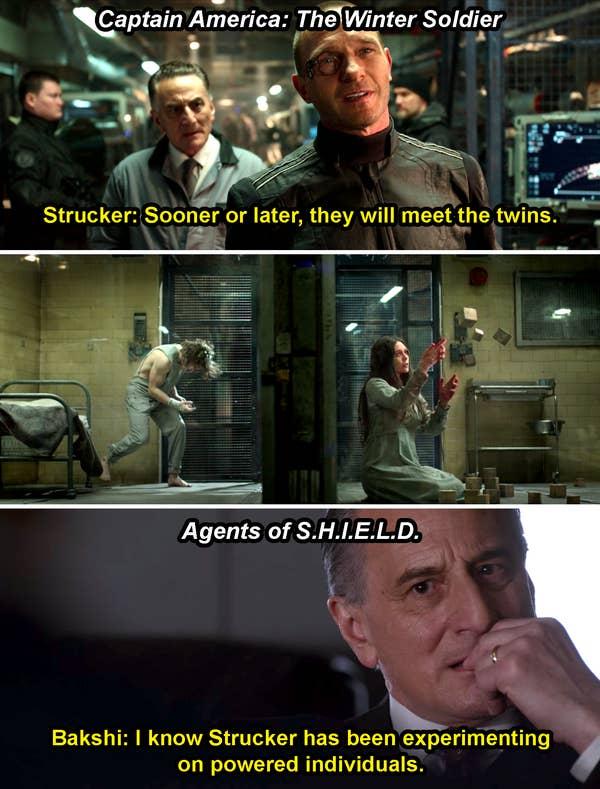 Wolfgang von Strucker memandangi si kembar Maximoff yang dipenjara di Winter Soldier dan seseorang berkata, & quot; Saya tahu Strucker telah bereksperimen pada individu yang kuat, & quot;  di Agents of Shield