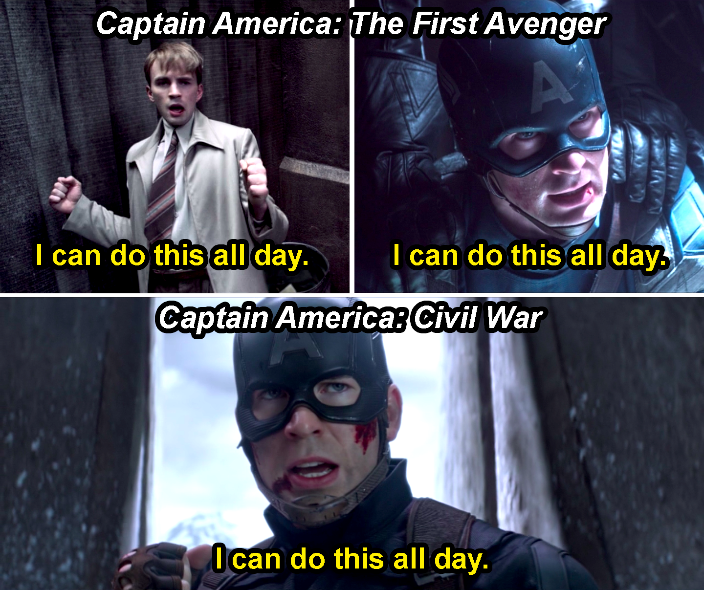 """Steve Rogers saying, """"I can do this all day,"""" twice in First Avenger and then once in Civil War"""