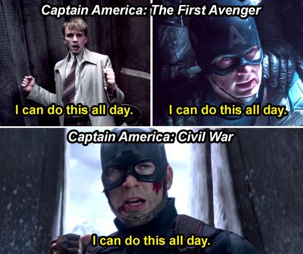 Steve Rogers berkata, & quot; Saya bisa melakukan ini sepanjang hari, & quot;  dua kali di First Avenger dan sekali di Civil War