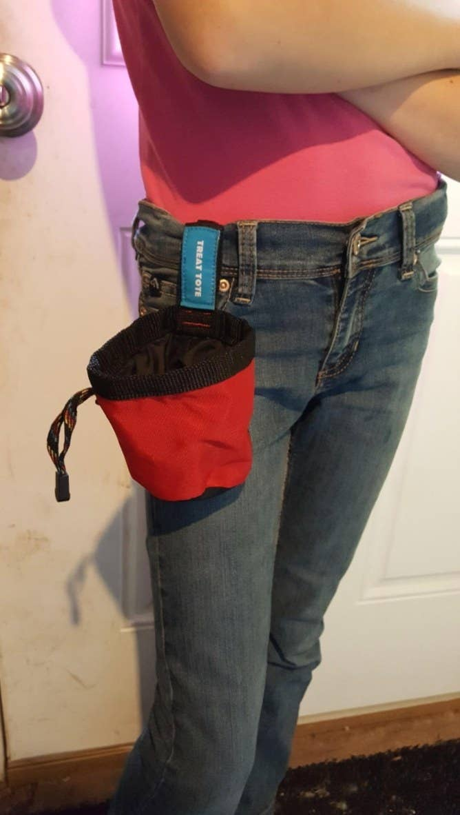 The reviewer's red treat tote clipped onto their jeans