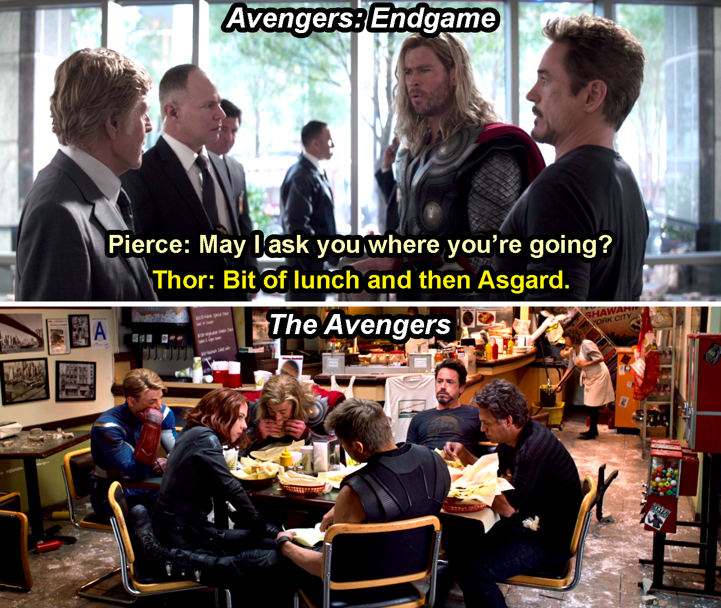 Past Thor saying he and Tony are going for a bit of lunch before he goes to Asgard in Endgame, and the Avengers eating shawarma in The Avengers