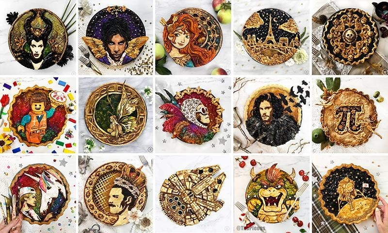 Image of 15 different pies with each pie baked differently to feature a design from movies, shows, artist and more