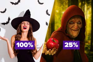 100% over a pretty, young witch smiling and 25% over an old, scary witch holding out an apple