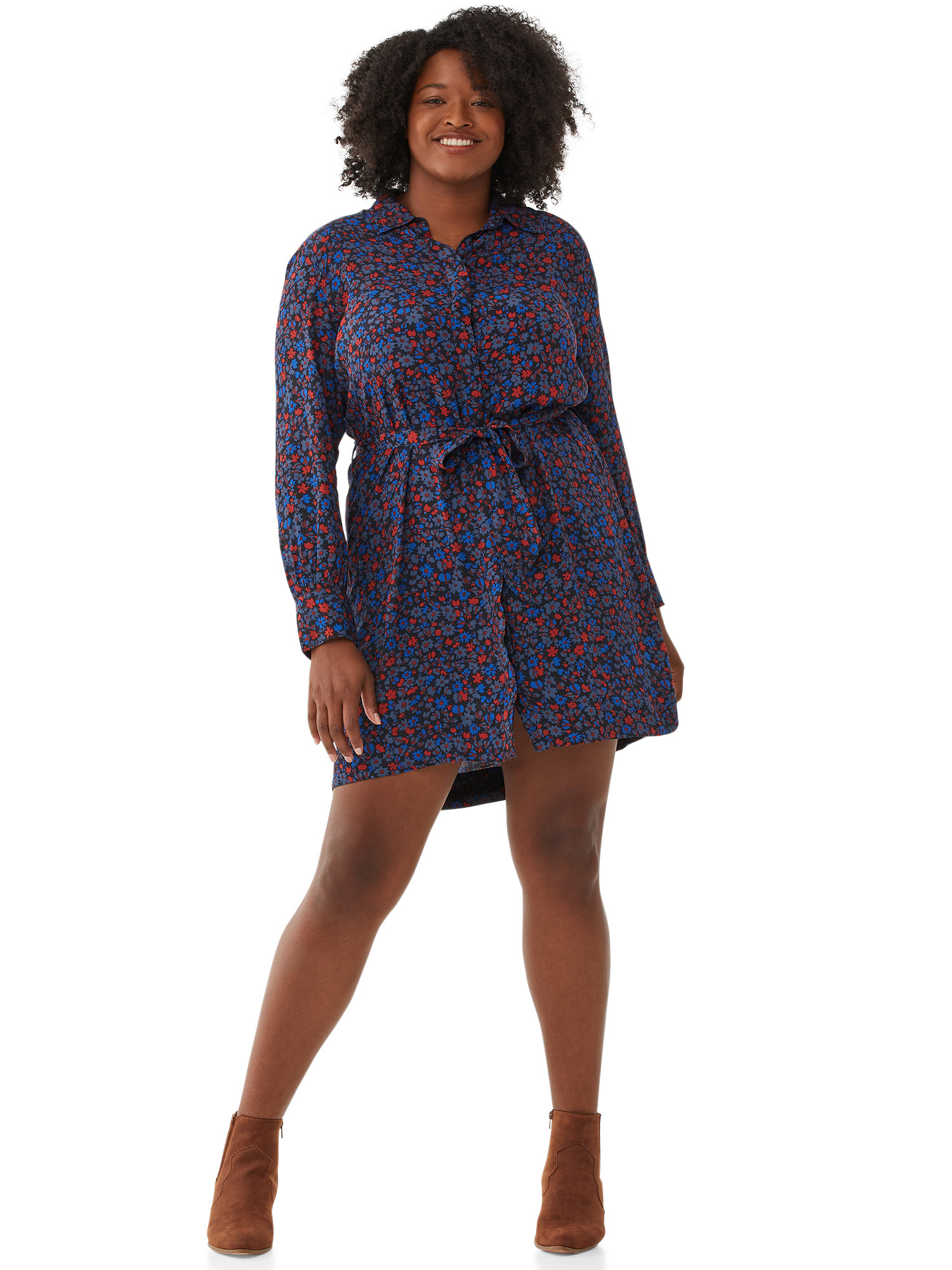 The navy blue and red mid-length shirt dress