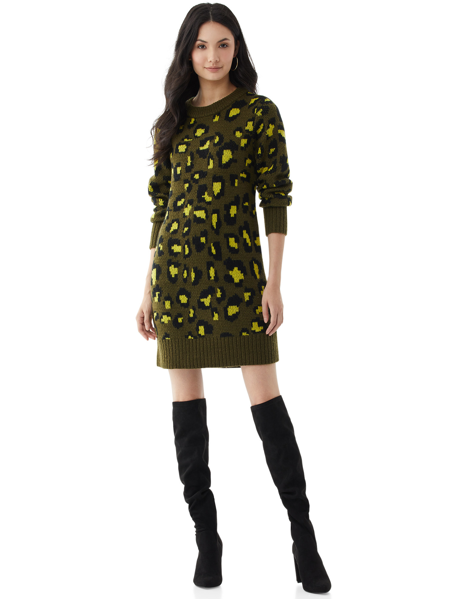 The green leopard print dress