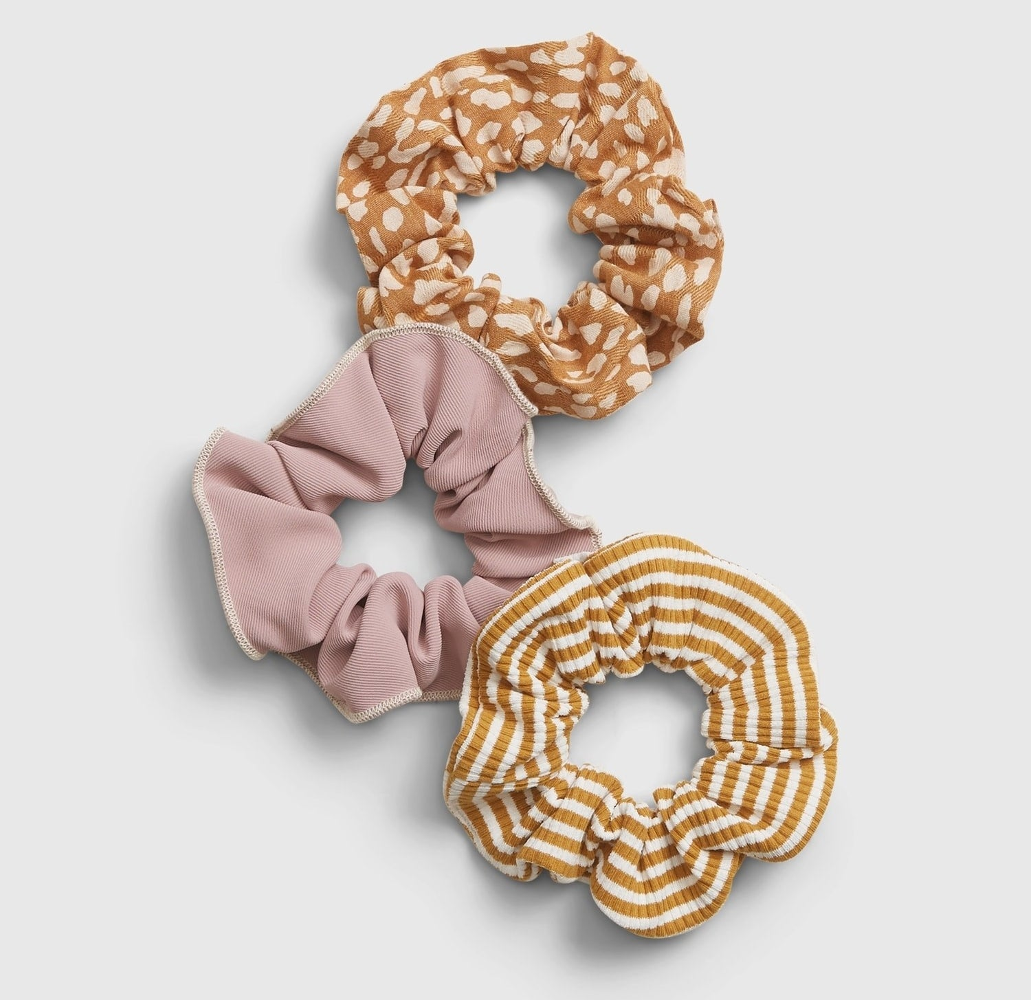 3-pack of scrunchies in warm, fall colors