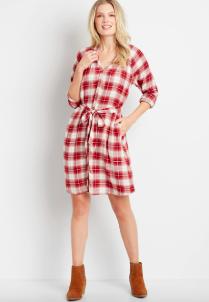 model wearing a plaid shirt dress