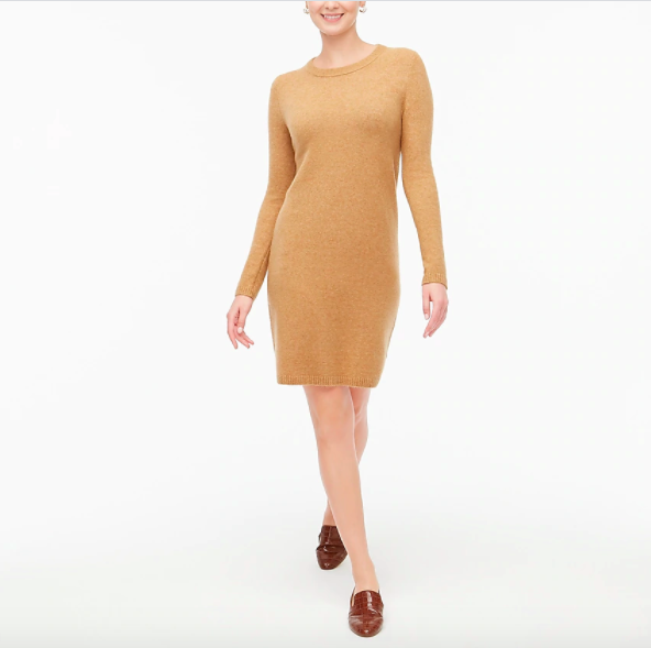 model wearing camel color long sleeve sweater dresss