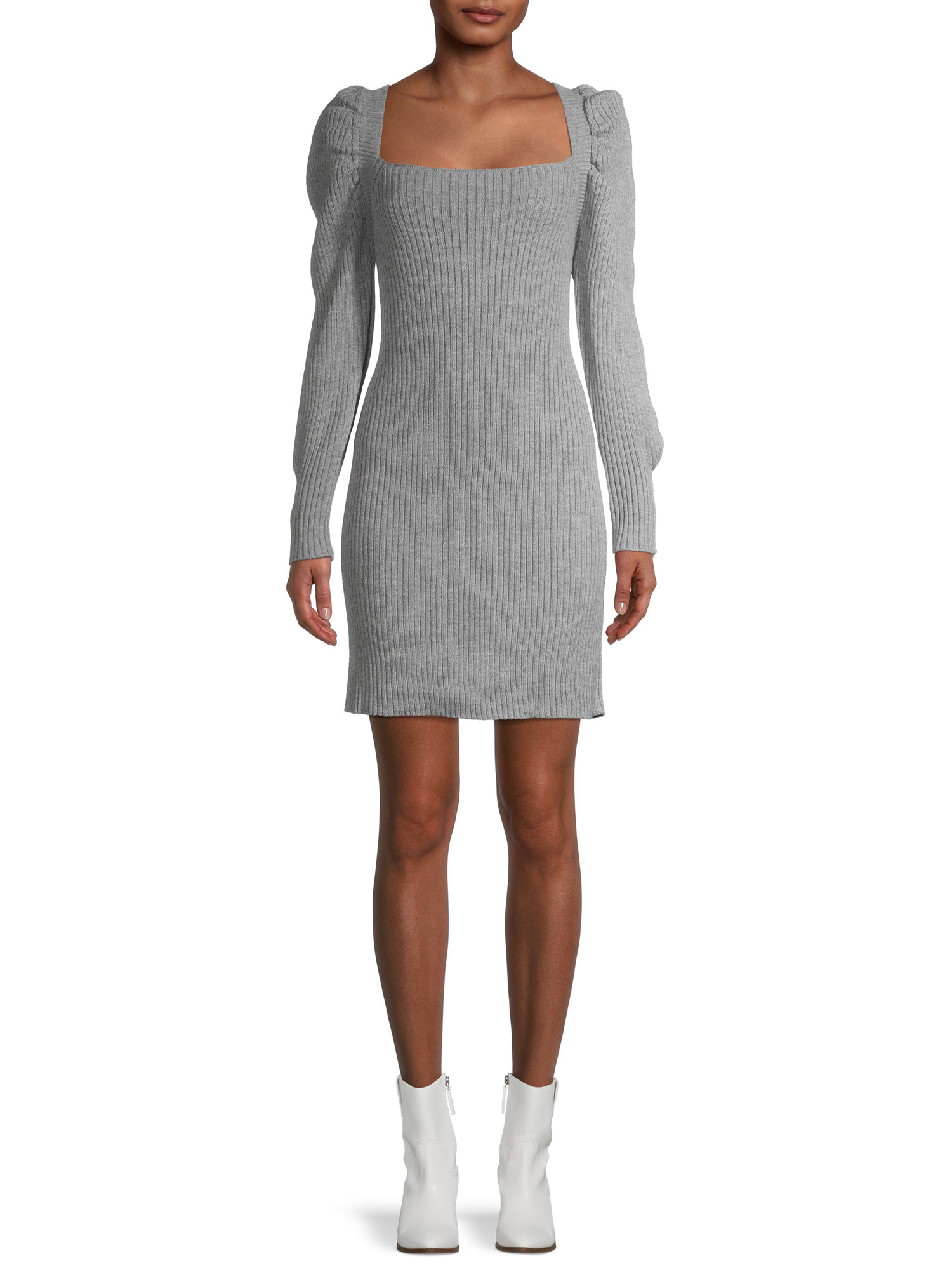 Model wearing ribbed grey dress with white booties