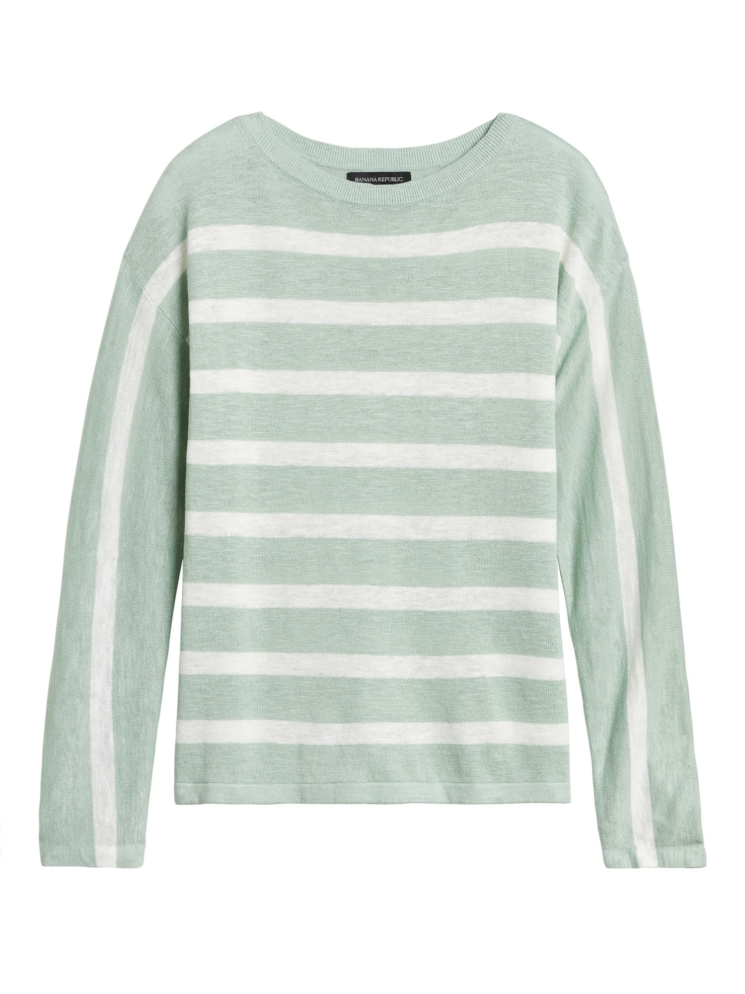 The scoop neck sweater with horizontal stripes across the body and vertical stripes down the sleeves