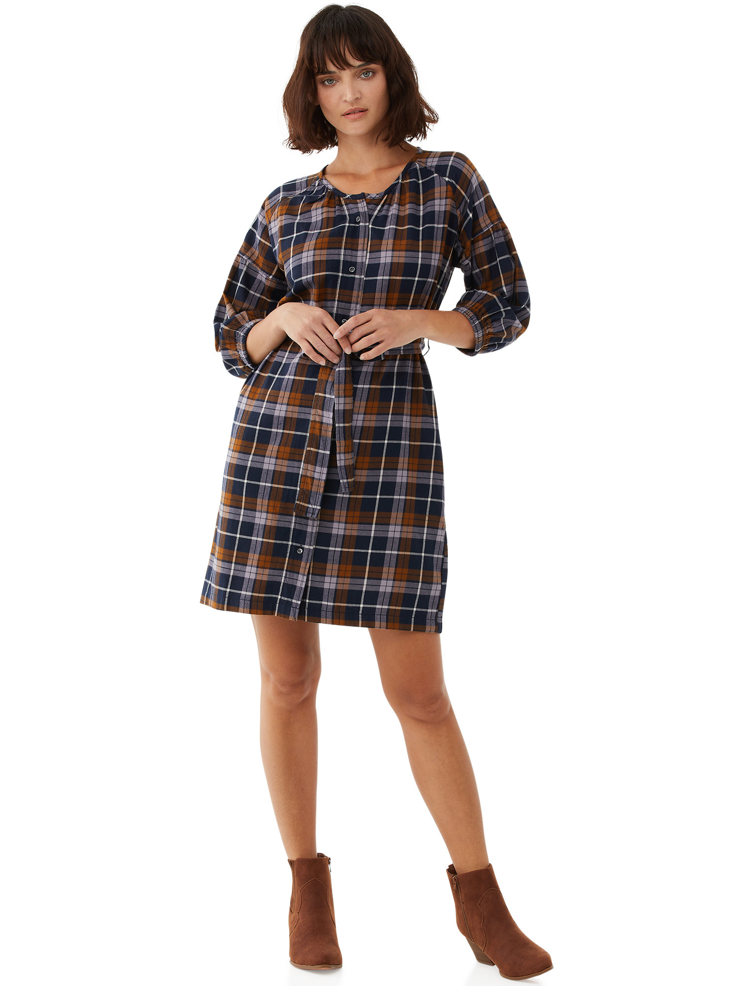 The black, white, and rust plaid shirt dress