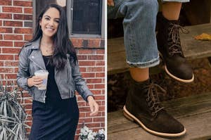 on left reviewer wearing gray motorcycle jacket and on right model wearing brown suede lace-up boots