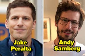 Side-by-side of Jake Peralta from Brooklyn Nine-Nine and Andy Samberg in real life
