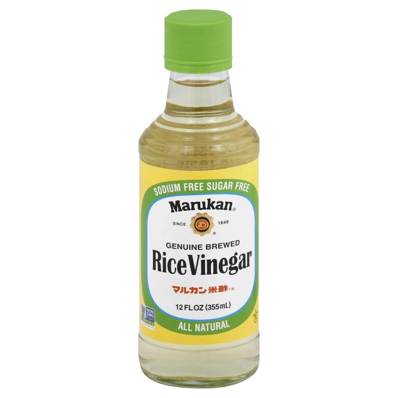 A bottle of Marukan rice vinegar.