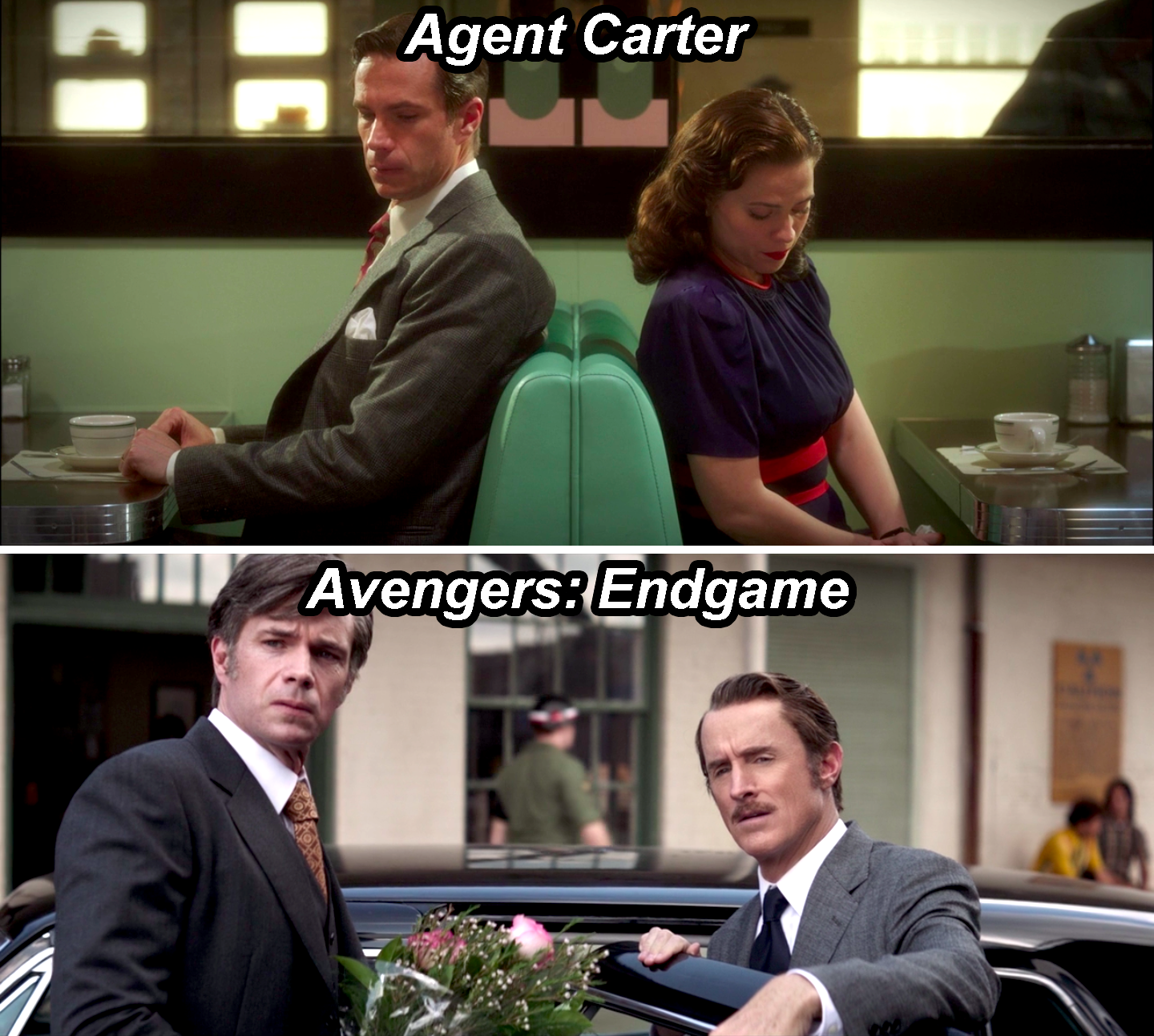 Jarvis and Peggy Carter in a diner in Agent Carter, and Jarvis opening a car door for Howard Stark in Endgame