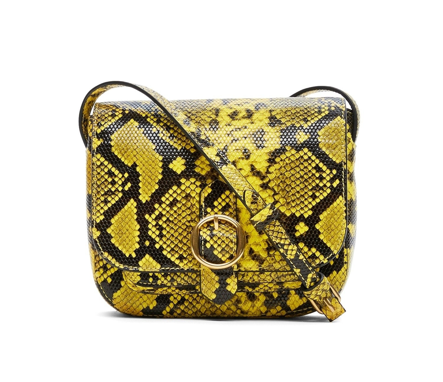 The saddlebag with a round buckle, thin strap, and a yellow and black snake print