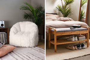A faux fur shag chair and a wooden bench