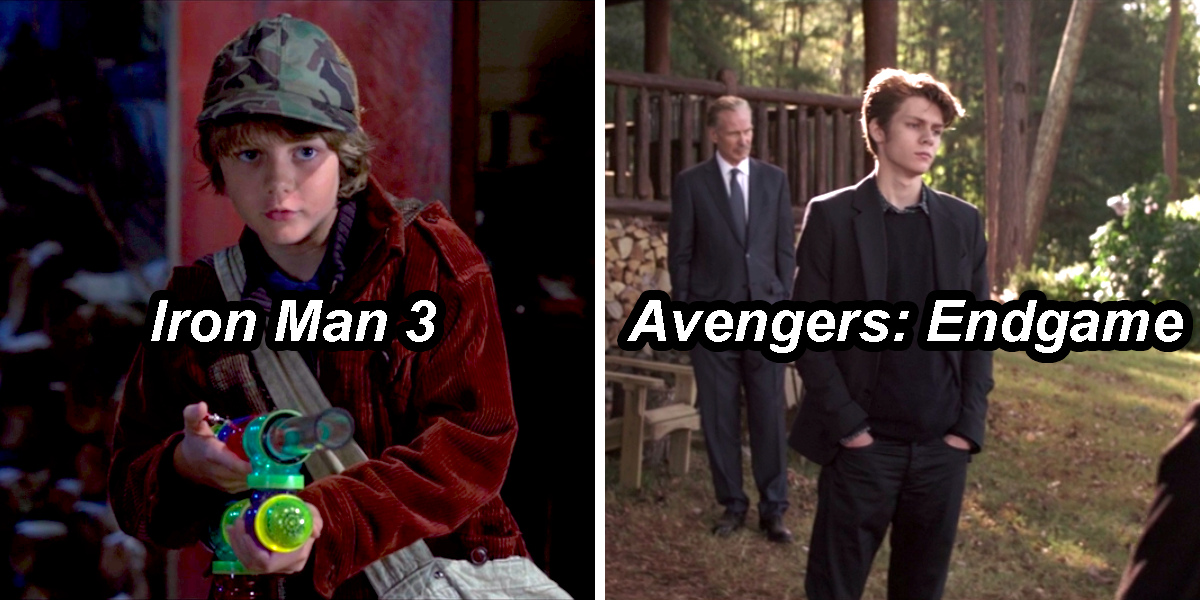 Harley as a kid with a potato gun in Iron Man 3, and Harley grown up and in a suit at Tony's funeral in Endgame