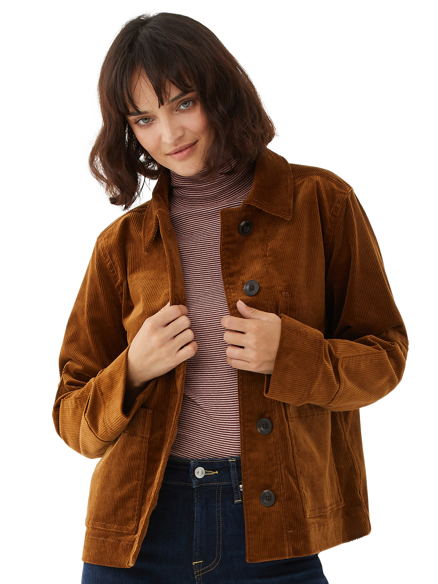 Model wearing brown jacket with striped shirt