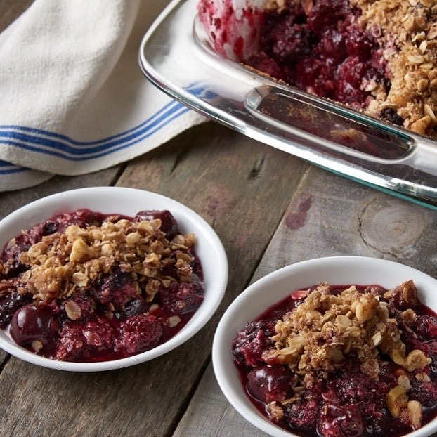 The pan making a cherry crumble