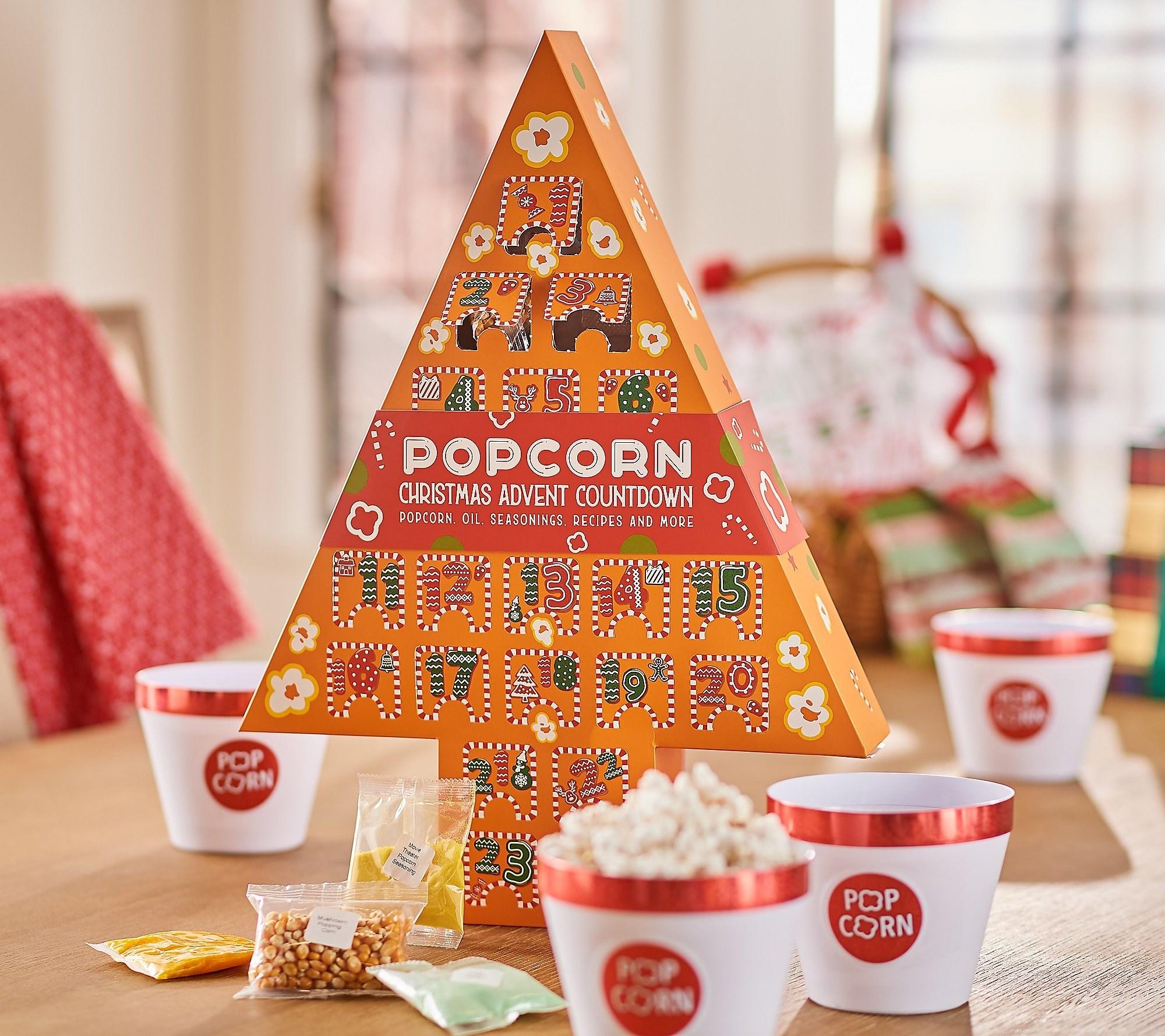 an orange, tree-shaped popcorn advent calendar