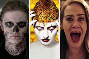 Tate as a skeleton and Sarah Paulson screaming