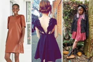 split thumbnail of model in camel faux-leather dress, back of dress with angel wings, a reviewer with a red babydoll dress on