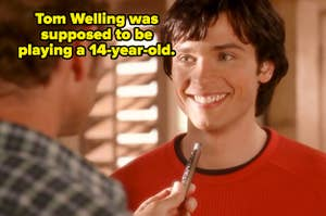 """Clark Kent smiling at his dad in """"Smallville."""""""