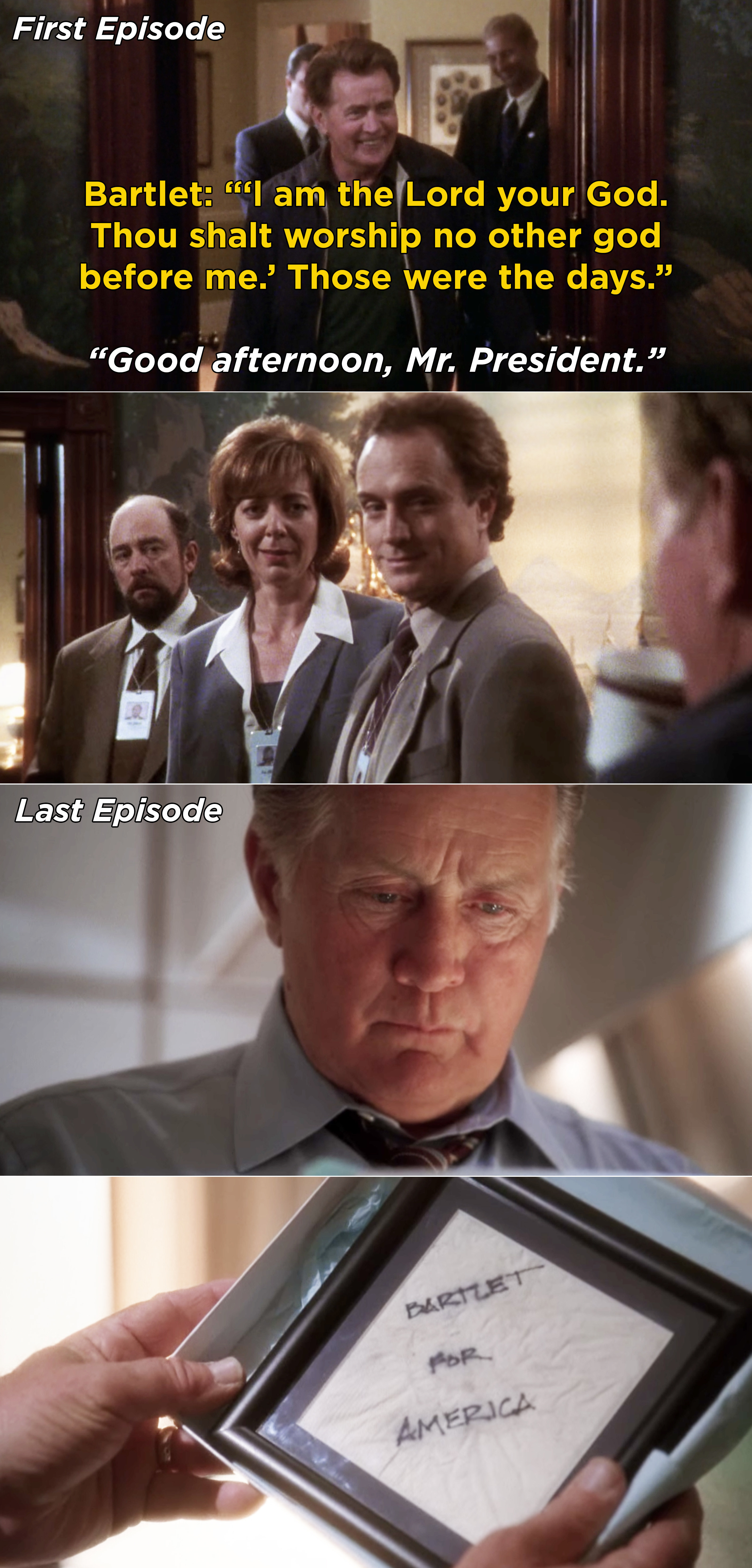 """Bartlet arriving and saying the first commandment vs. Bartlet's final scene where he reads the """"Bartlet for America"""" napkin"""