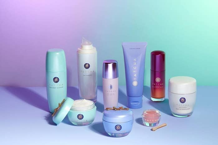 A variety of Tatcha skincare products laid out