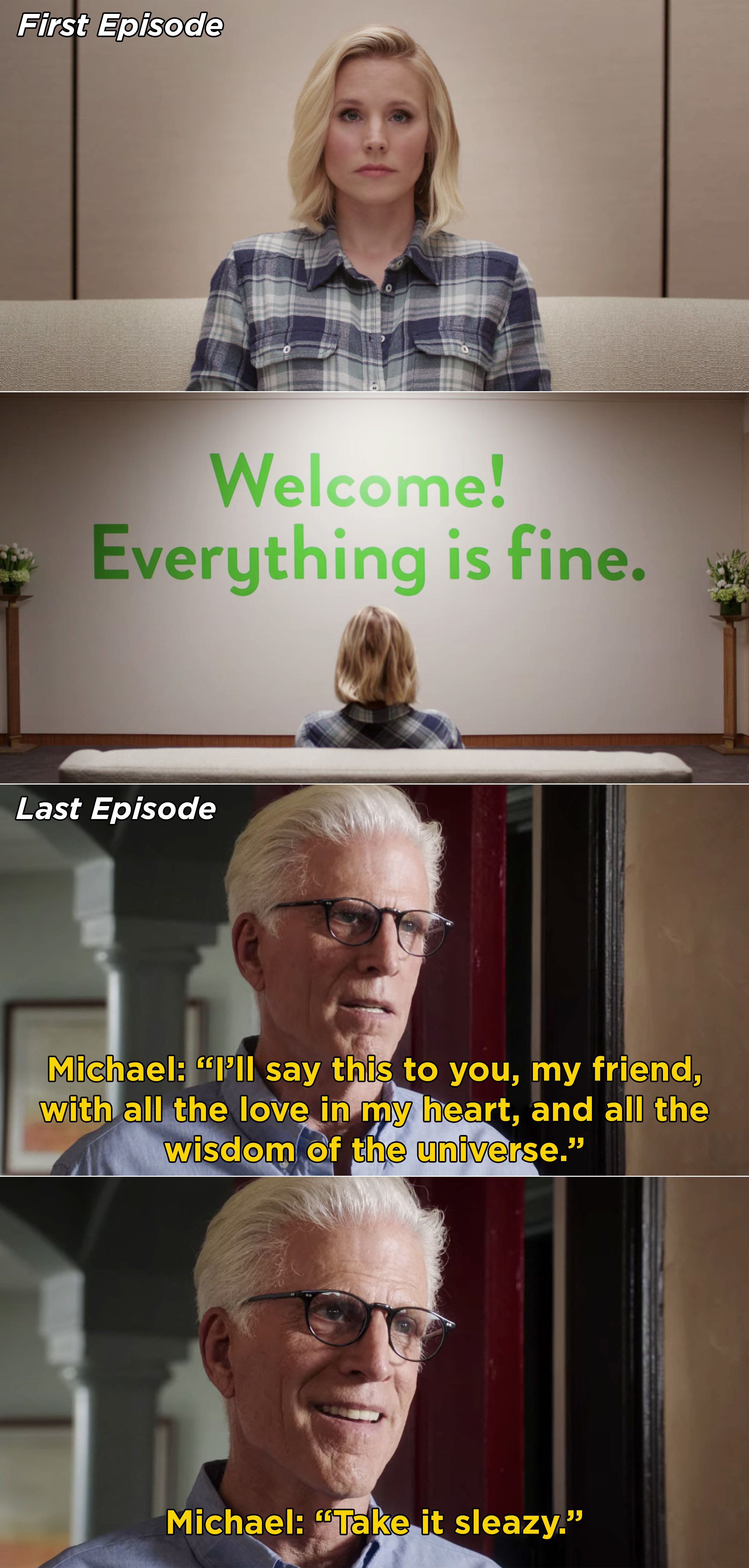 """Eleanor looking at the """"Welcome! Everything is fine"""" sign and Michael saying """"Take it sleazy"""" in the series finale"""