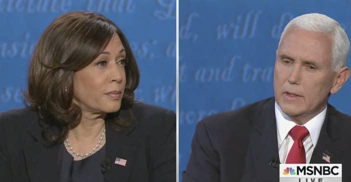 Kamala Harris and Mike Pence on the debate stage