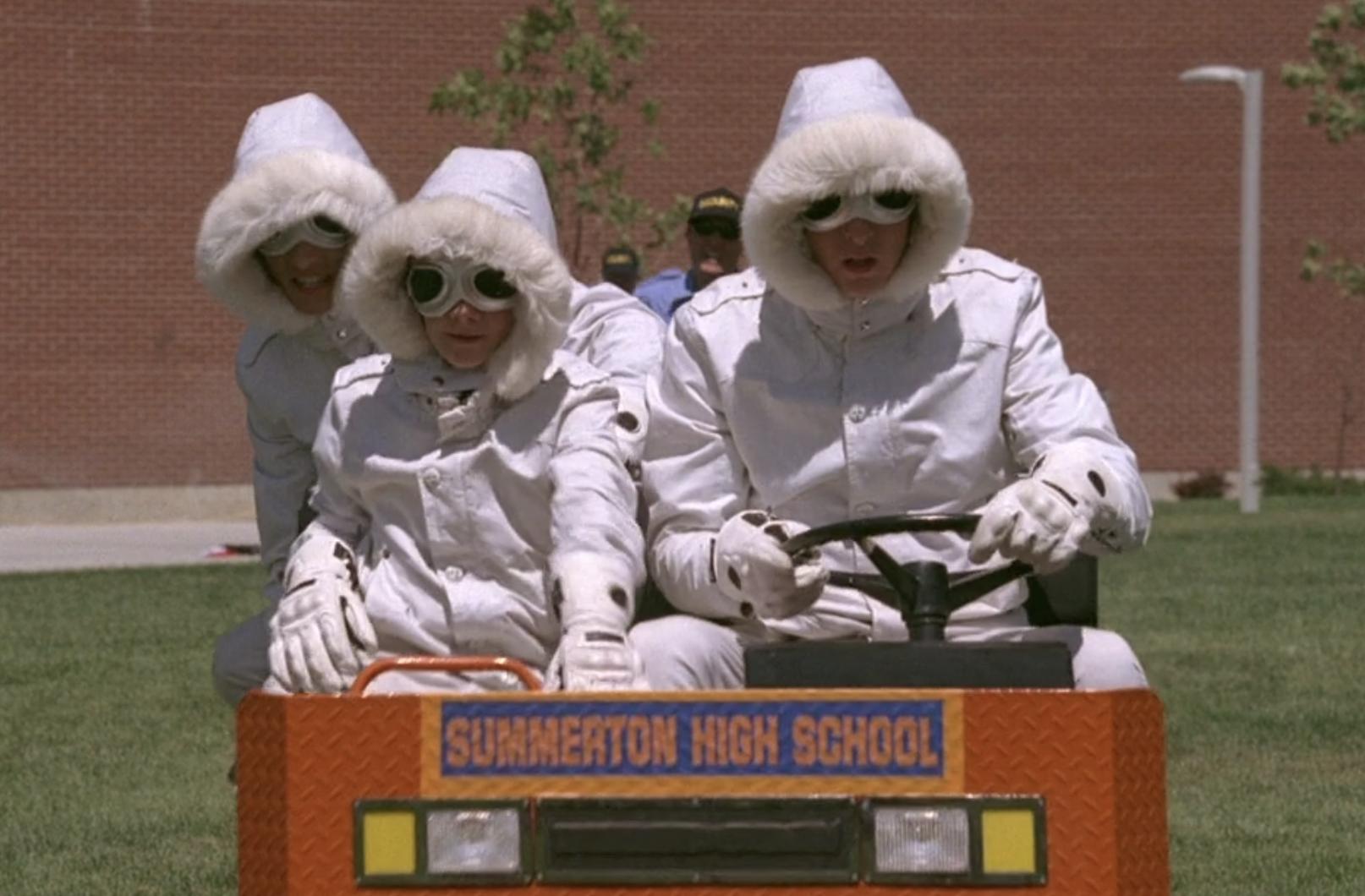 "Luke Benward, Jason Dolley, and Nicholas Braun wear snowsuits and drive a cart in ""Minutemen"""