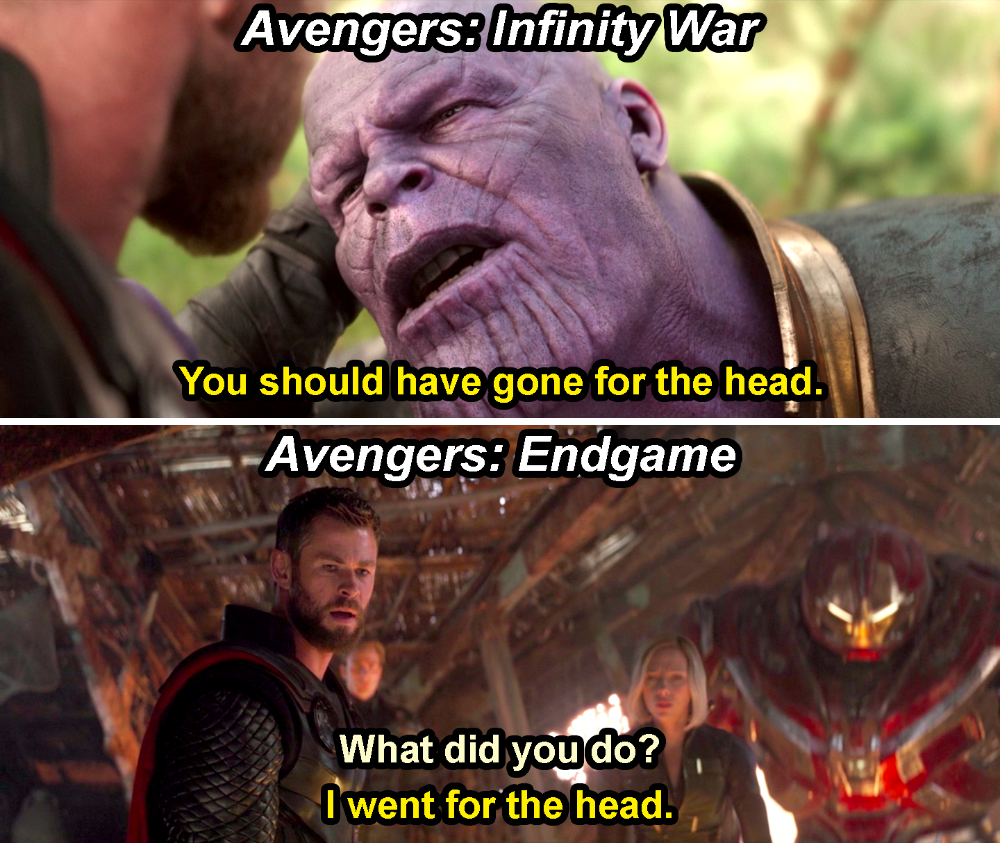 "Thanos saying, ""You should have gone for the head,"" in Avengers: Infinity War, and Thor saying, ""I went for the head,"" in Endgame"