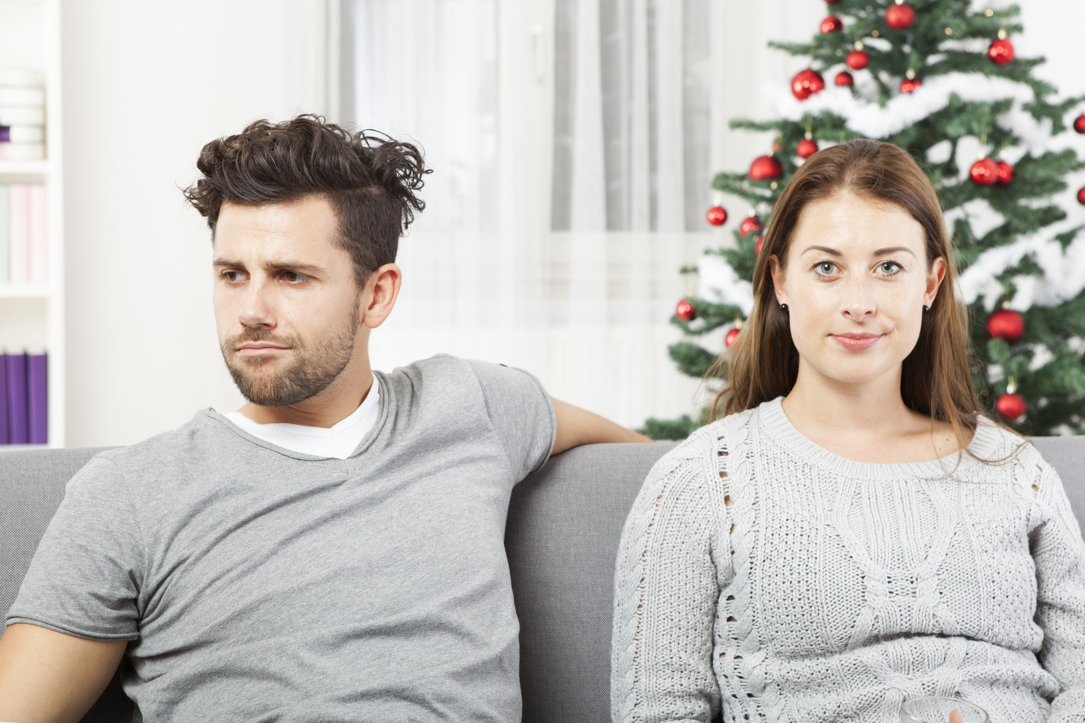 An angry couple fighting at Christmas