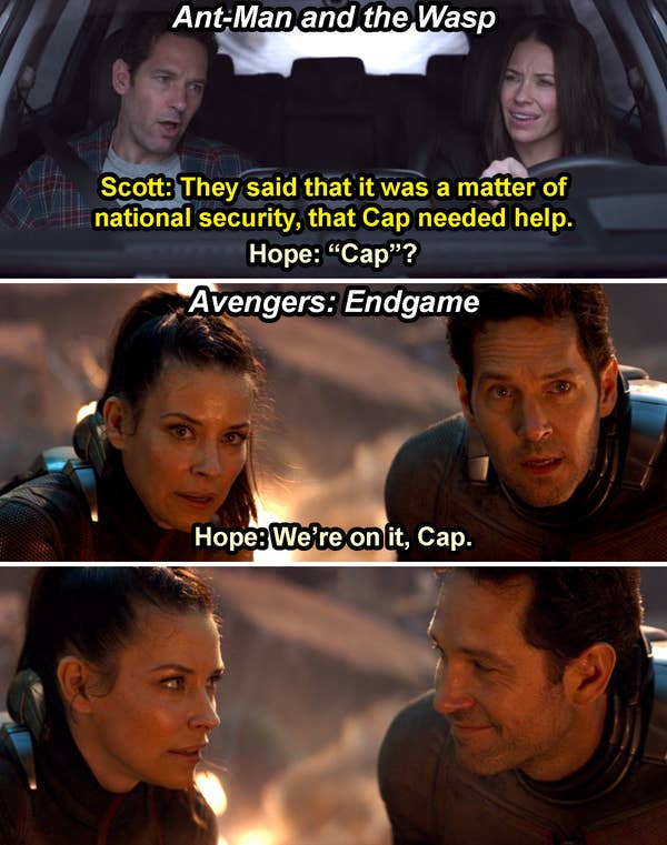"Scott saying, ""Cap needed help,"" and Hope saying, ""Cap?"" in Ant-Man and the Wasp, and then Hope saying, ""We're on it, Cap,"" which makes Scott smile at her in Endgame"