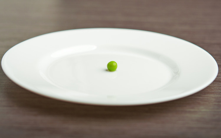 Photo of a single pea on a plate.