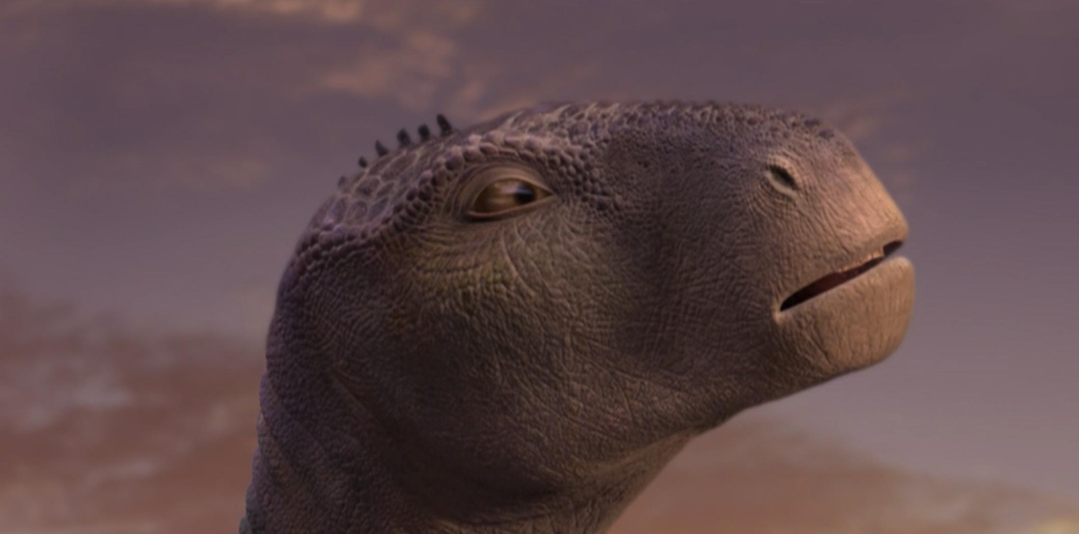 A mama dinosaur looks up toe sky