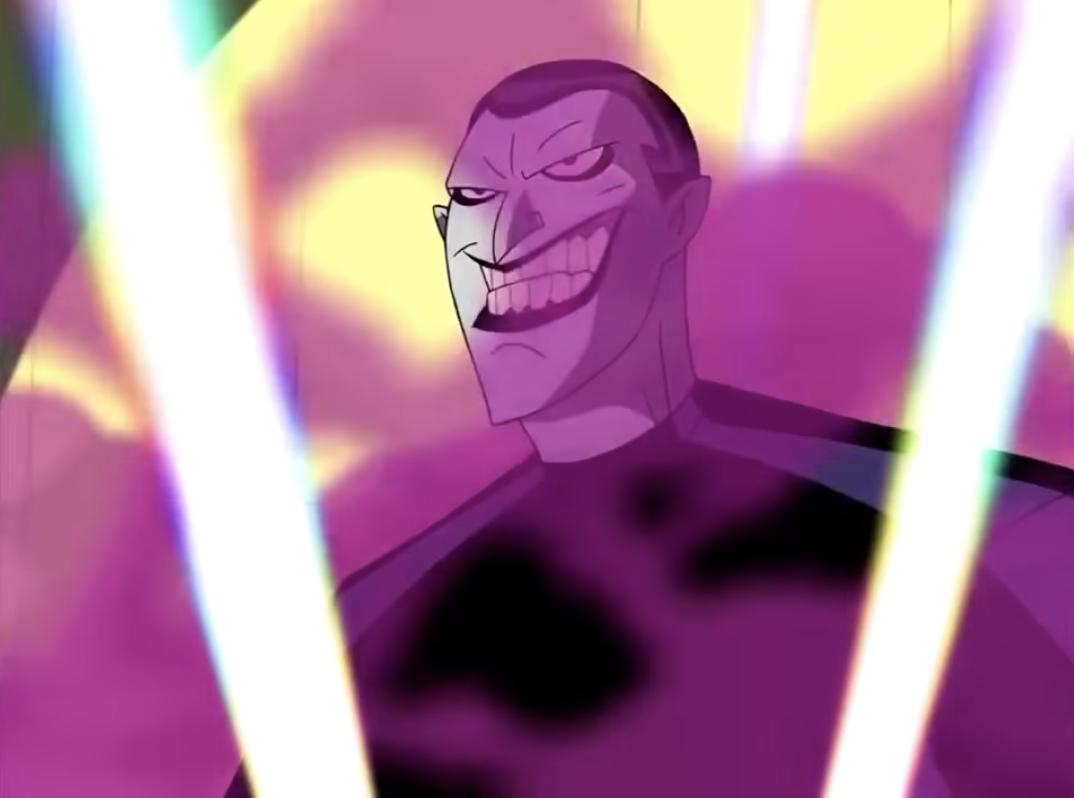 The Joker smiles behind a cloud of smoke